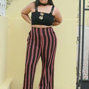 Stripe flare pants